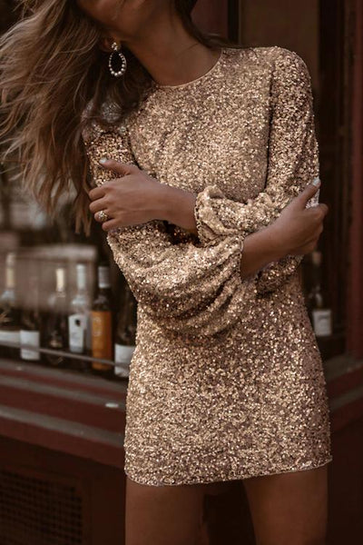 Puffy Sleeve Sequin Mini Dress