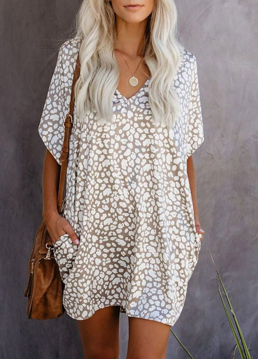 Short Sleeve Leopard T-Shirt Dress