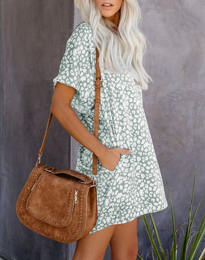 Short Sleeve Soft Leopard Dress