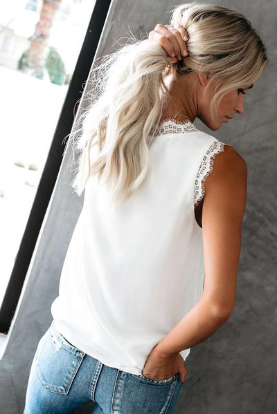 Eyelash Lace V Neck Top