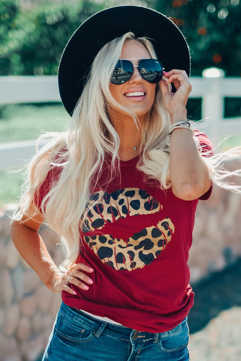 Red Leopard Lip Tee