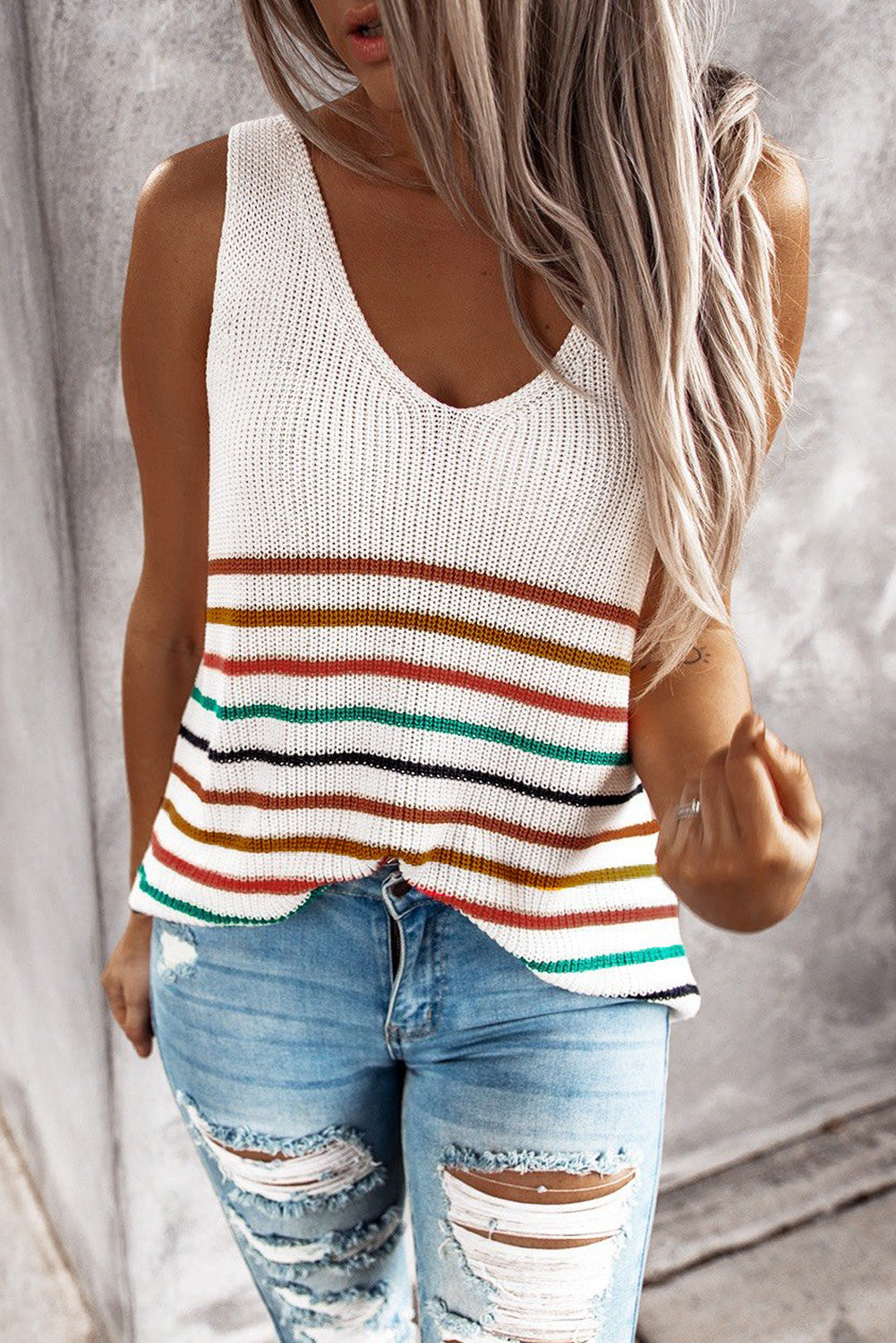 Multicolor Stripes Knit Tank