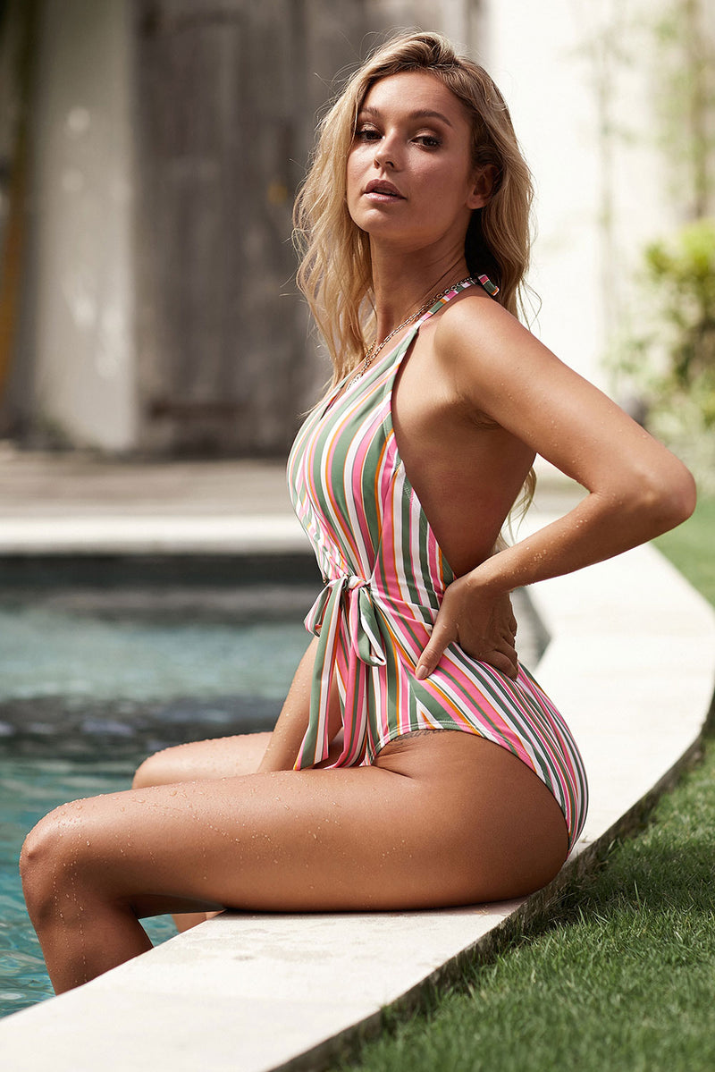 Multicolor Stripes Wrap V Neck Sash Backless One-piece Swimwear