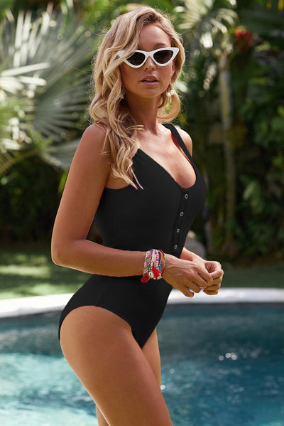 Button Decor Monokini One Piece