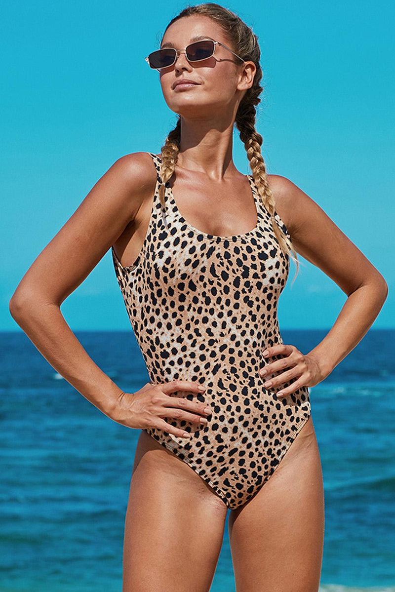 Open Back Leopard Print One Piece