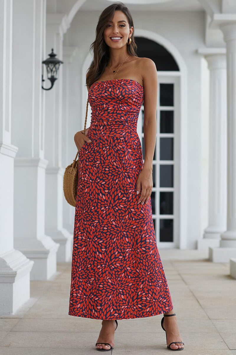 Bohemian Bandeau Floral Maxi Dress