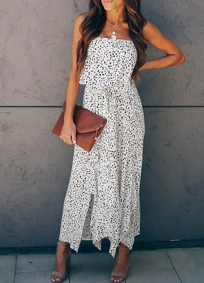 Strapless Animal Print Maxi Dress