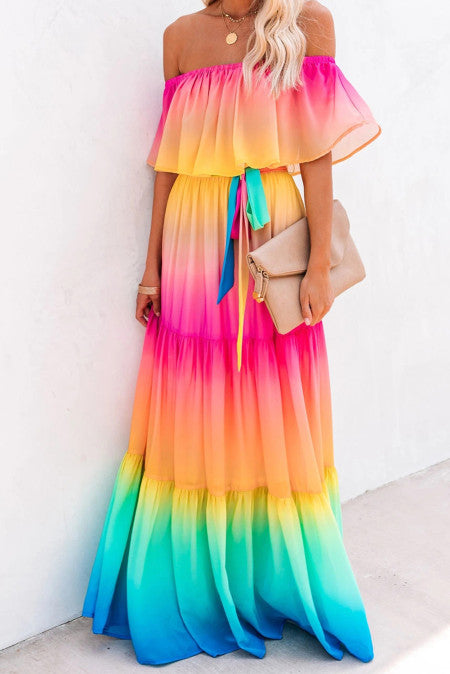 Rainbow Skies Tiered Maxi Dress