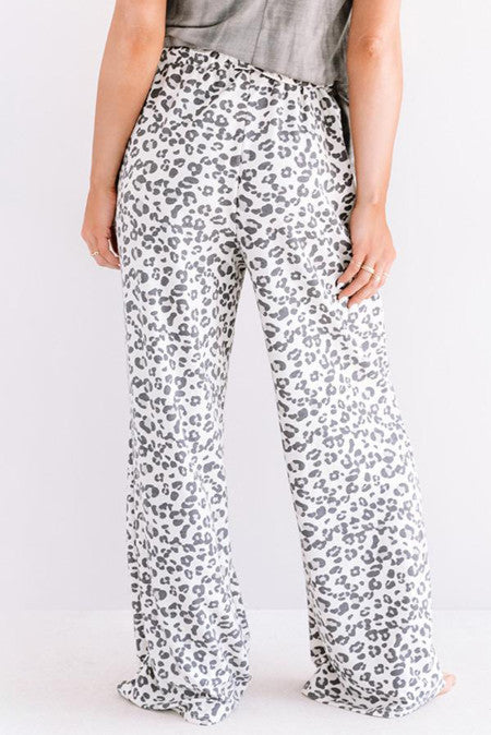 Leopard Print Loose Fit Pants