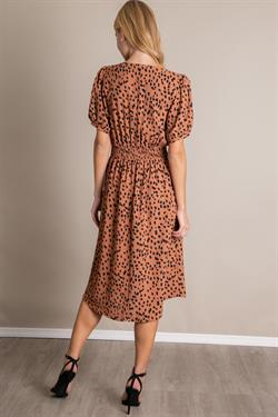 V Neck Animal Print Midi Dress