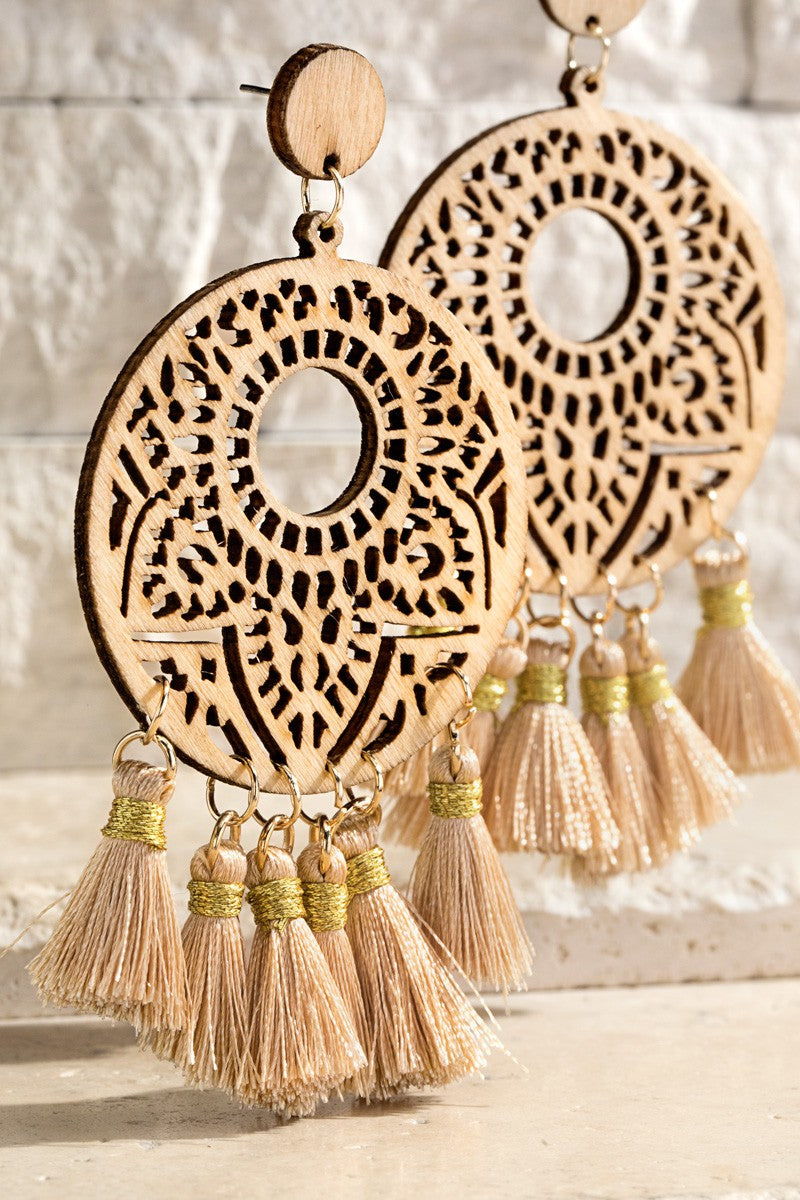Fine Thread Tassel With Wood Earrings
