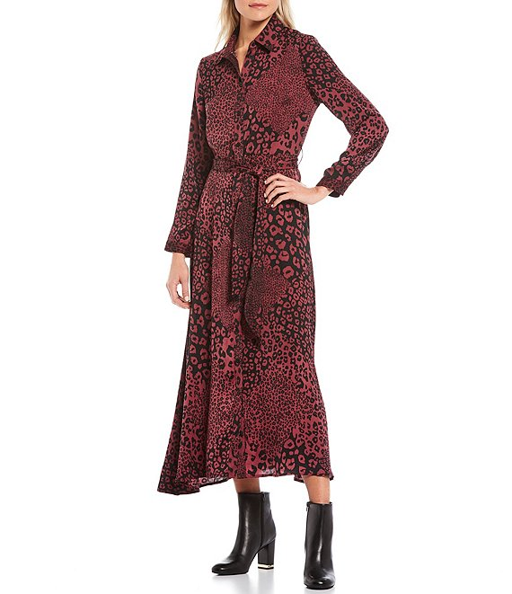 Leopard Print Long Sleeve Maxi Shirt Dress