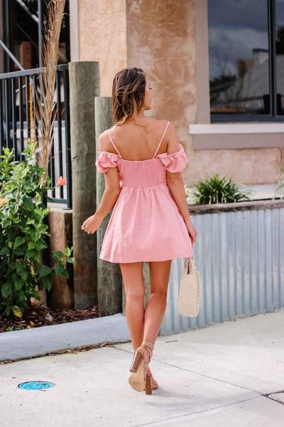 Pink Tie Front Mini Dress