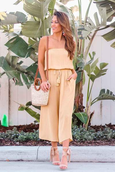 COULOTTE JUMPSUIT WITH TIE WAIST
