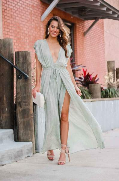 Deep V Neck Coverup Dress
