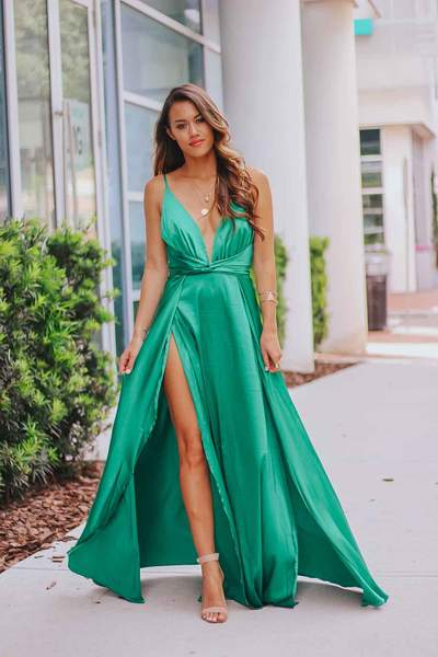 Satin Twist Split Hem Maxi