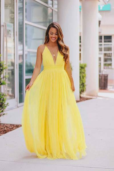 PLEATED MESH MAXI GOWN
