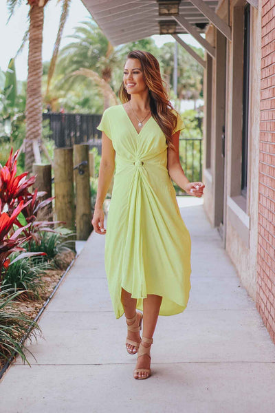 Twist Front Midi Dress in Lime