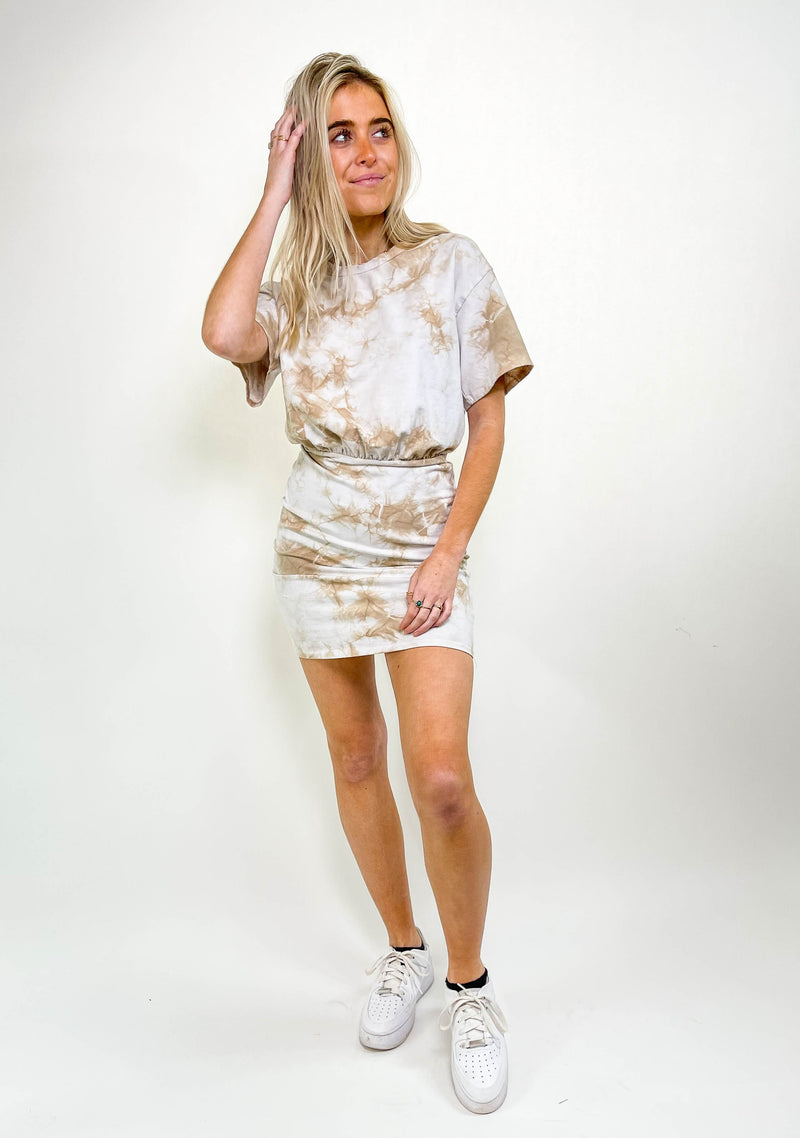 TIE DYE SHORT SLEEVE MINI DRESS
