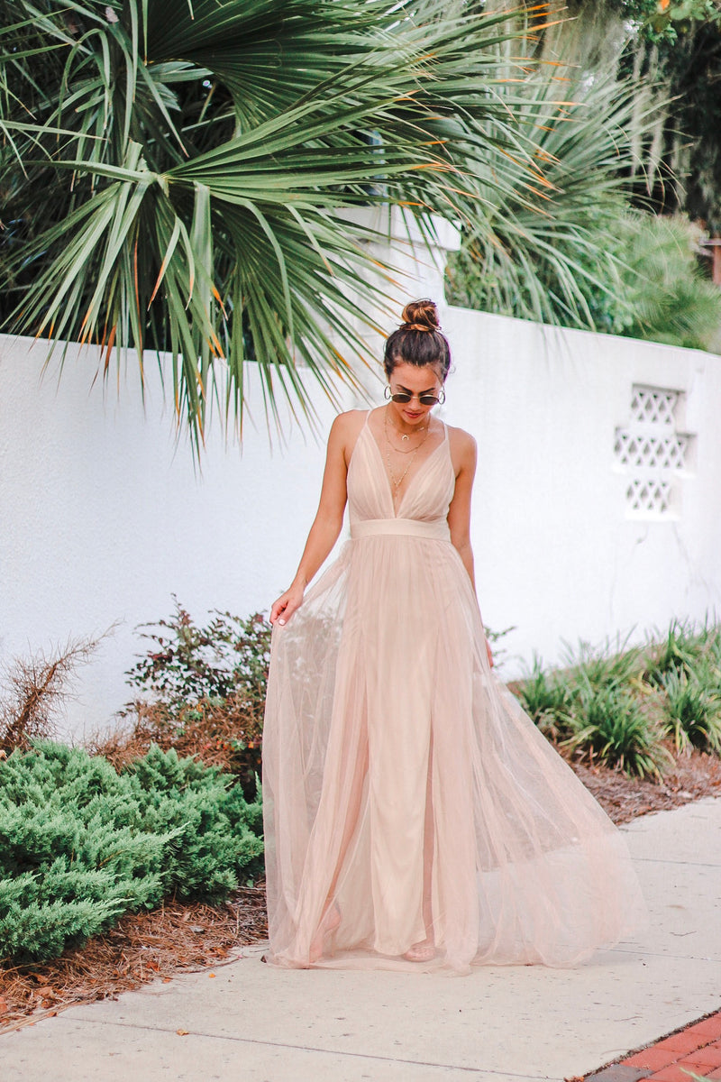 Sparkle Mesh Maxi Gown in Light Gold