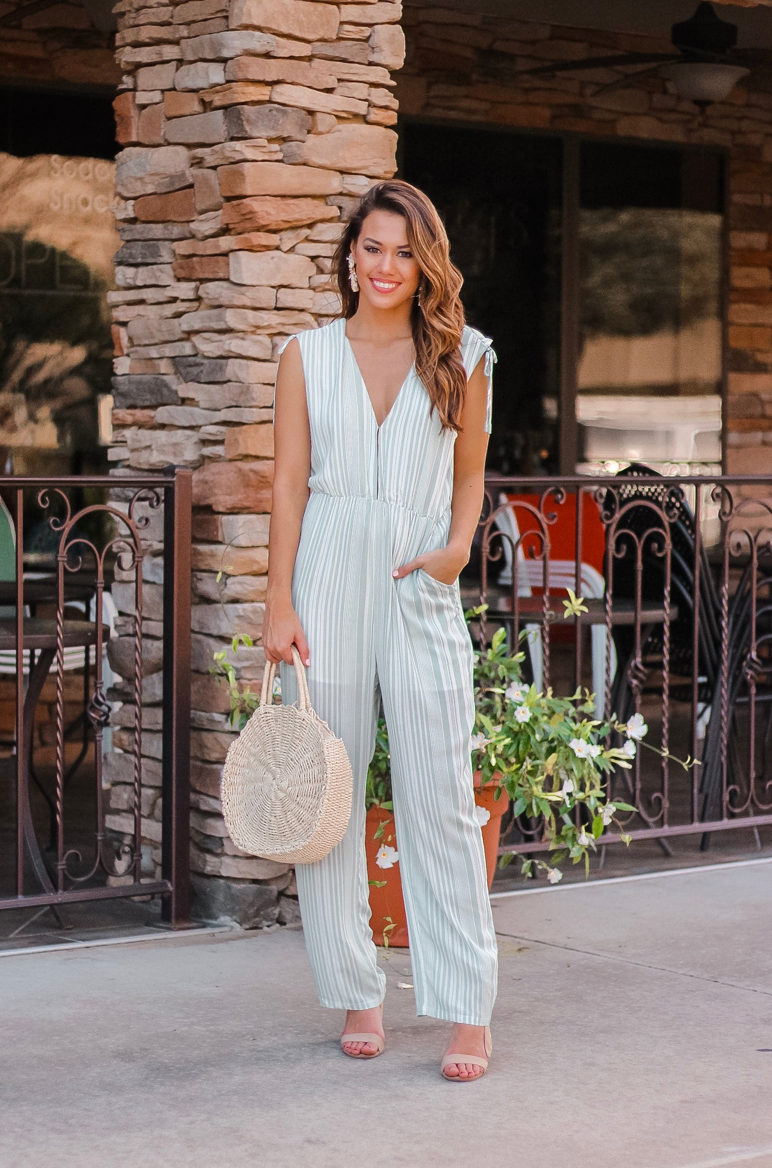 Sage Striped Jumpsuit