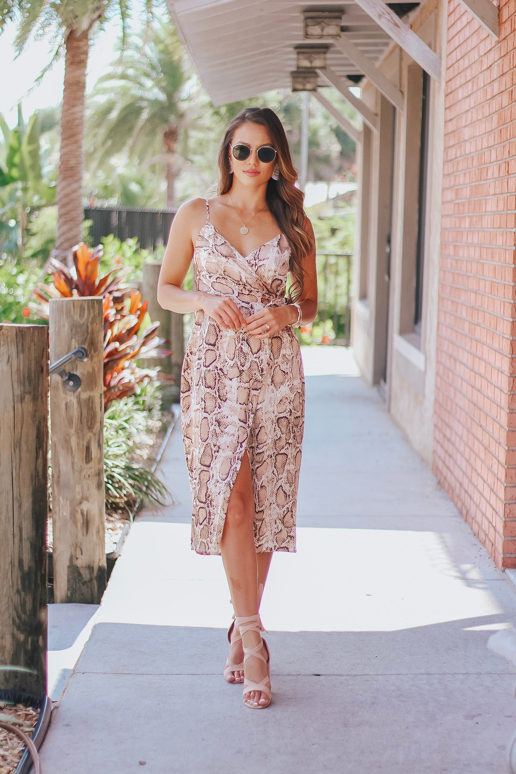 Python Wrap Midi Dress