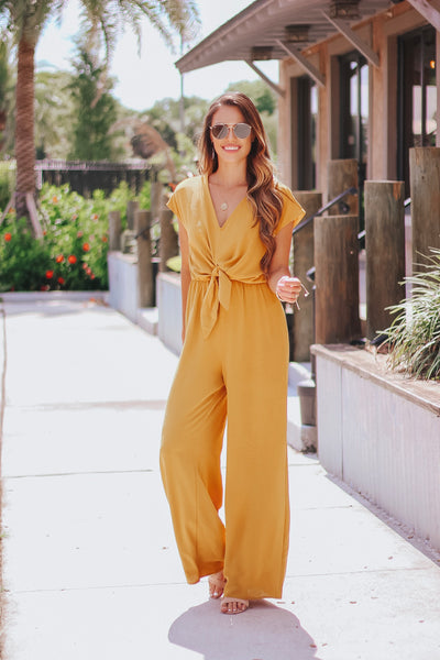 Mustard Open Back Jumpsuit