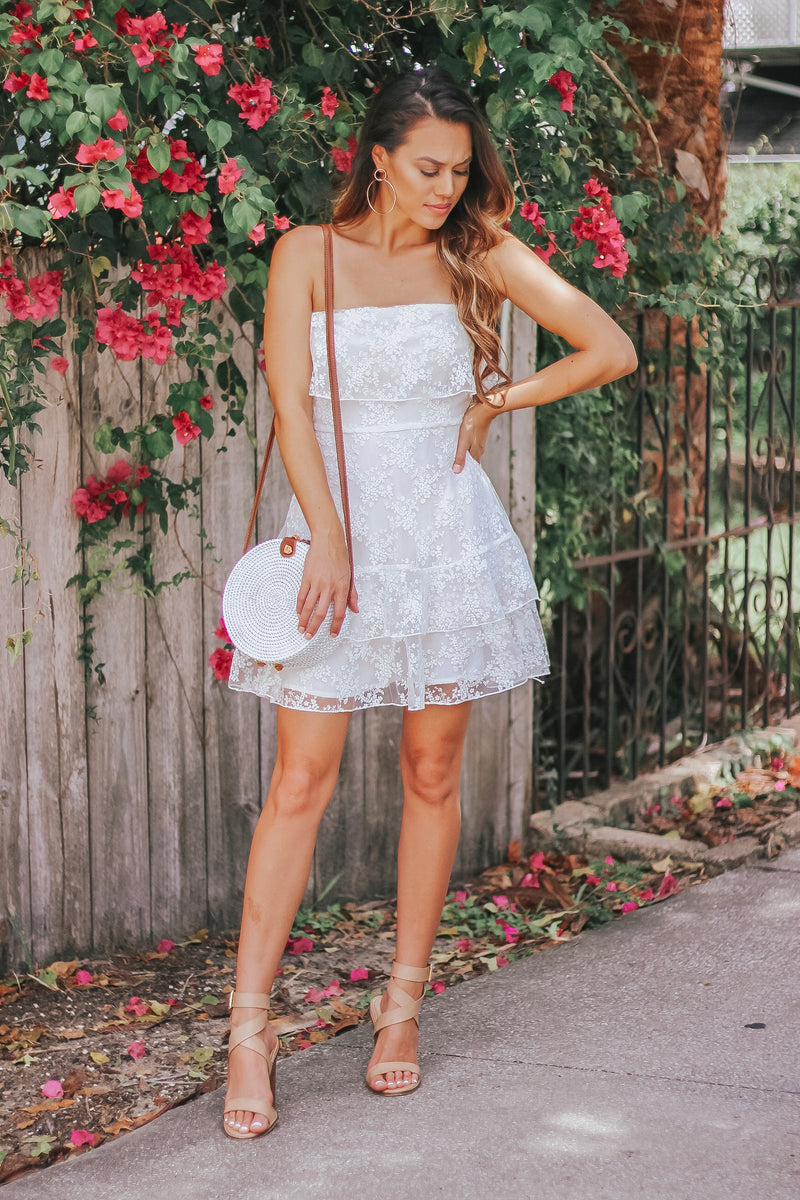 Delicate Crochet Lace Strapless Dress