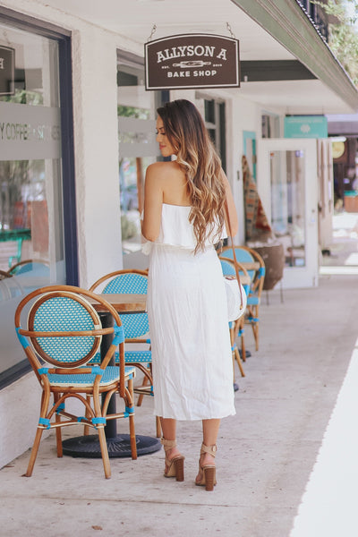 Strapless White Linen Dress