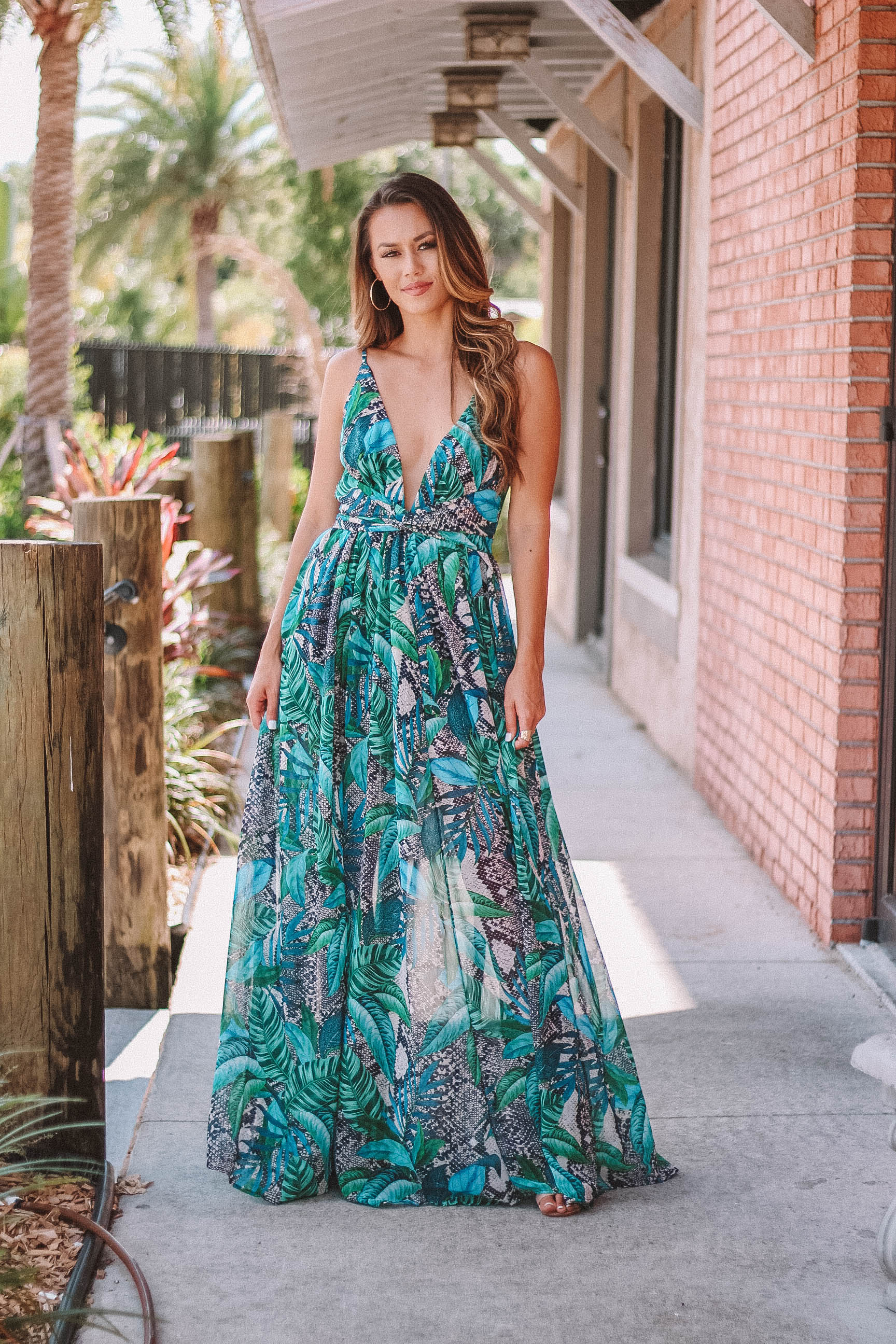 Snake Palms Twist Maxi Dress