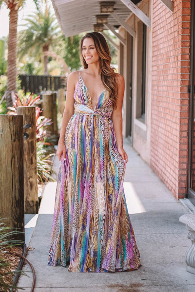 Leapord Mix Super Sexy Maxi Gown