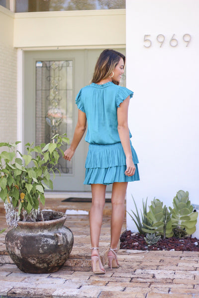 Short Sleeve Mini Dress with Pleated Skirt
