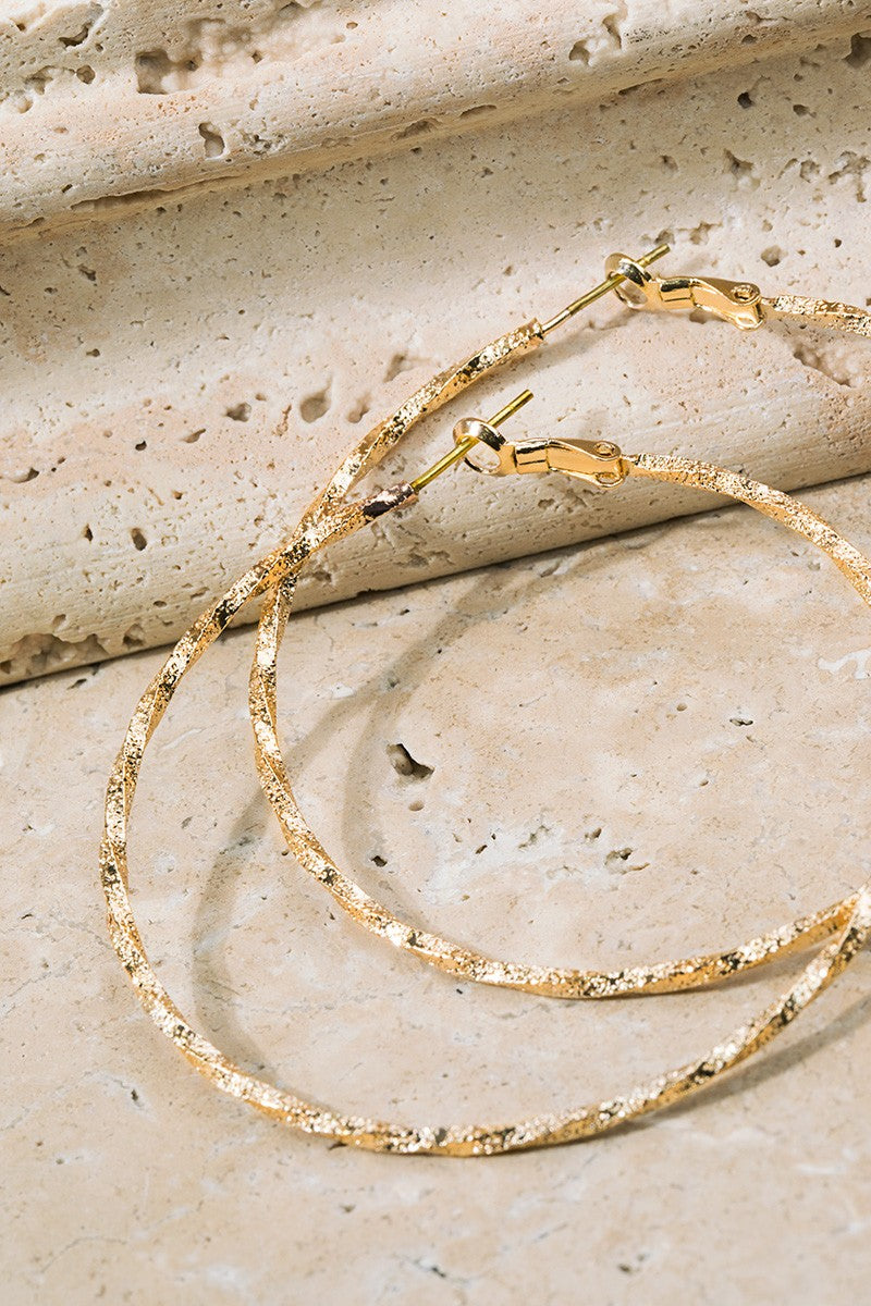 Twisted Brass Hoop Earrings