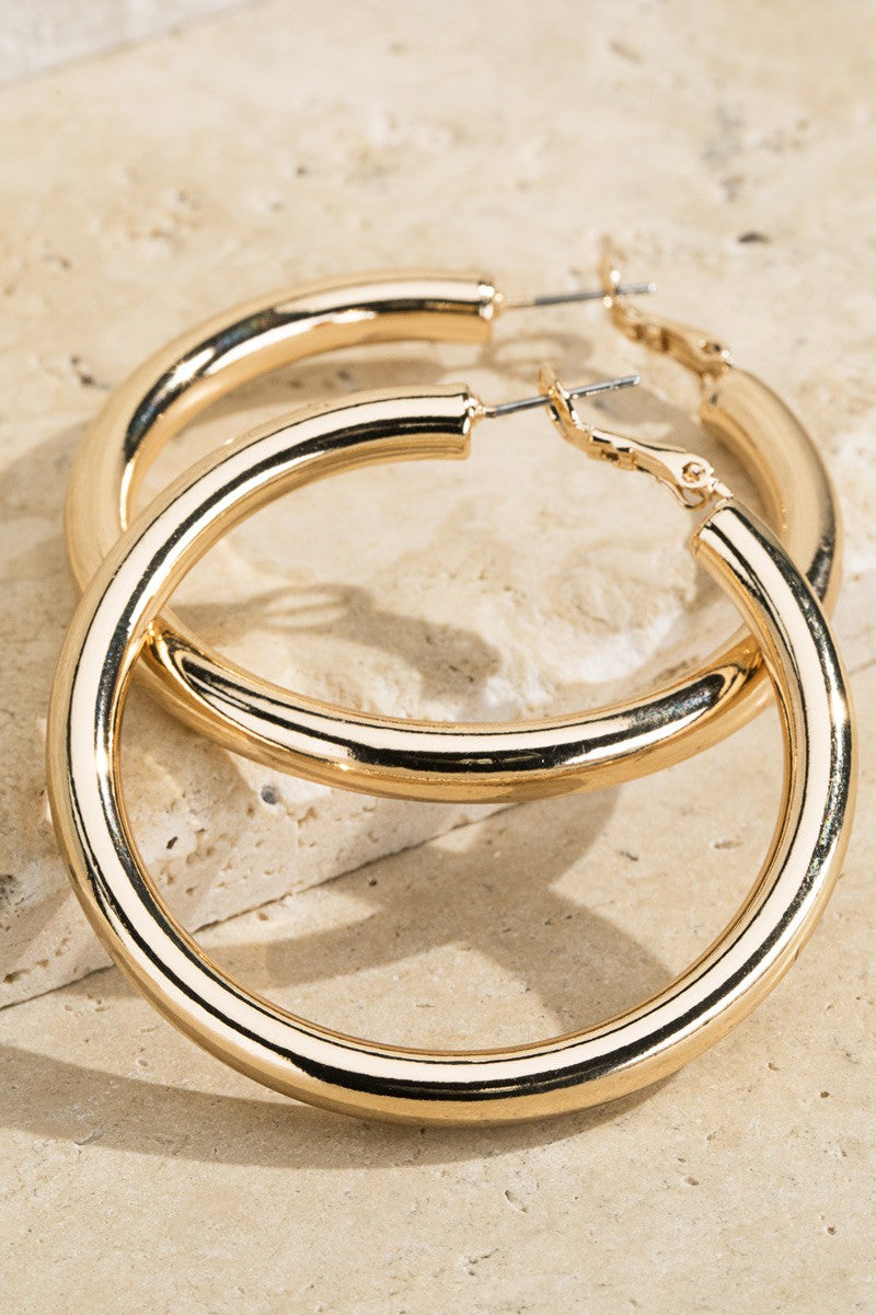 Shiny Brass Hoop Earrings