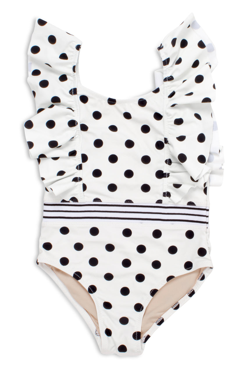 POLKA DOT RUFFLE SHOULDER ONE PIECE SWIMSUIT