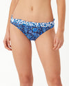 Woodblock Blossoms Reversible Hipster Ruffle Bikini Bottoms