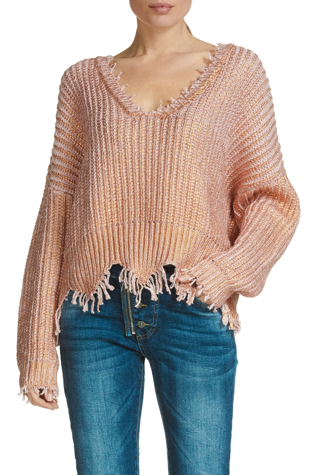 V-NECK METALLIC SWEATER WITH DISTRESSED DETAIL