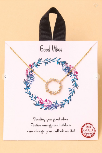18k Good Vibes Hoop Charm Necklace