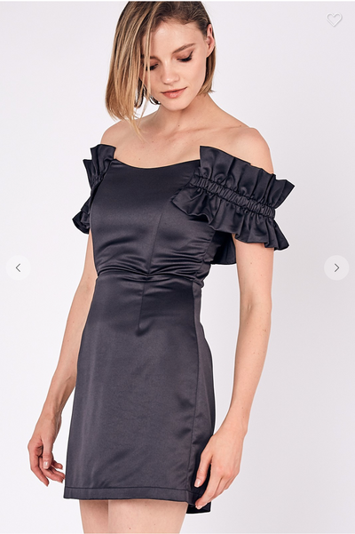 OFF SHOULDER SATIN BODYCON DRESS