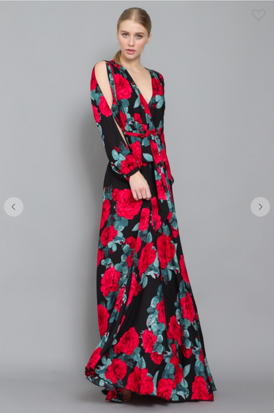 Split Long Sleeves Waist Tie Floral Maxi Wrap Dress