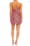 BRIGHT LEOPARD DRAPE MINI DRESS