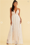 SCALLOP EDGE LACE MAXI DRESS