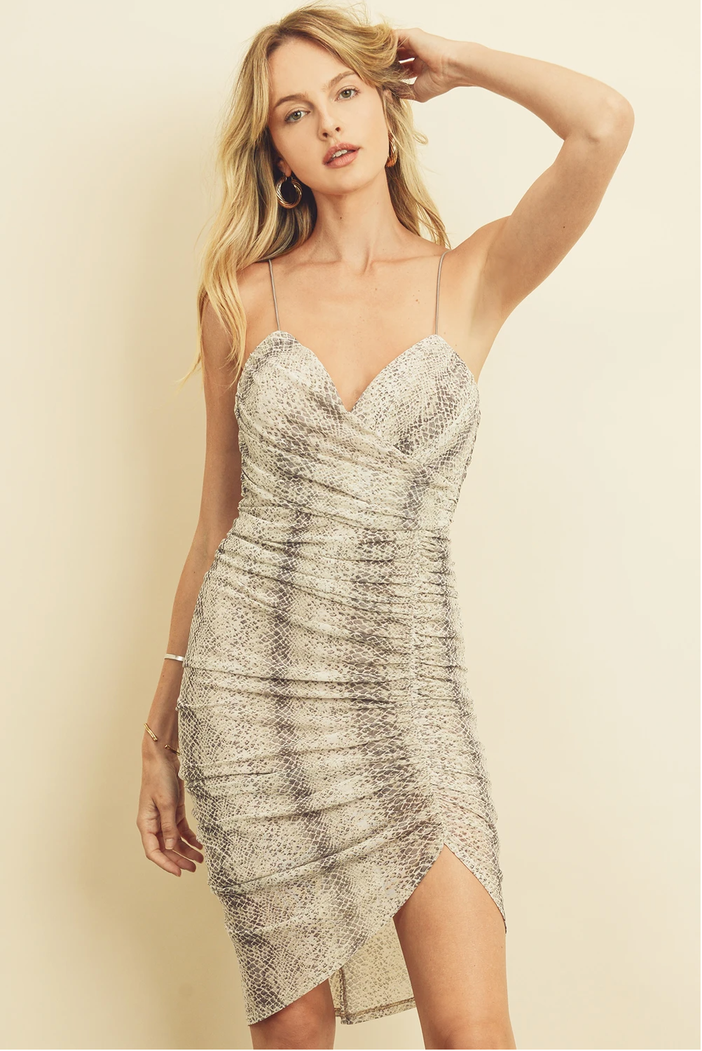 Snakeskin Ruched Bodycon Dress