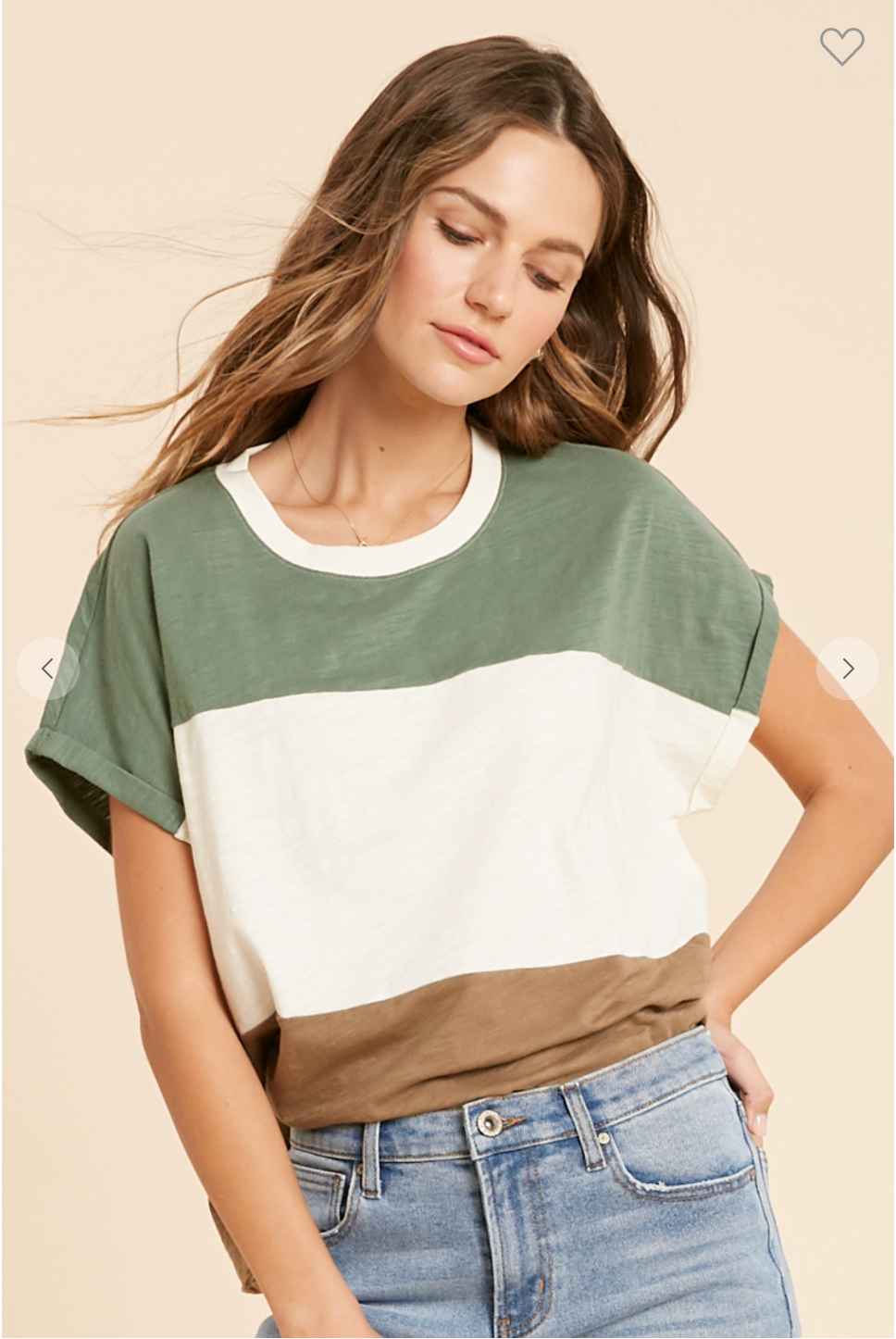 WIDE STRIPED COLORBLOCK BASIC TOP