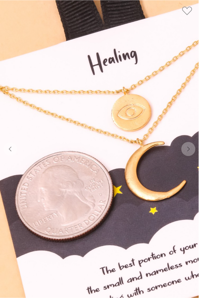 18k Disc & Moon Charms Necklace
