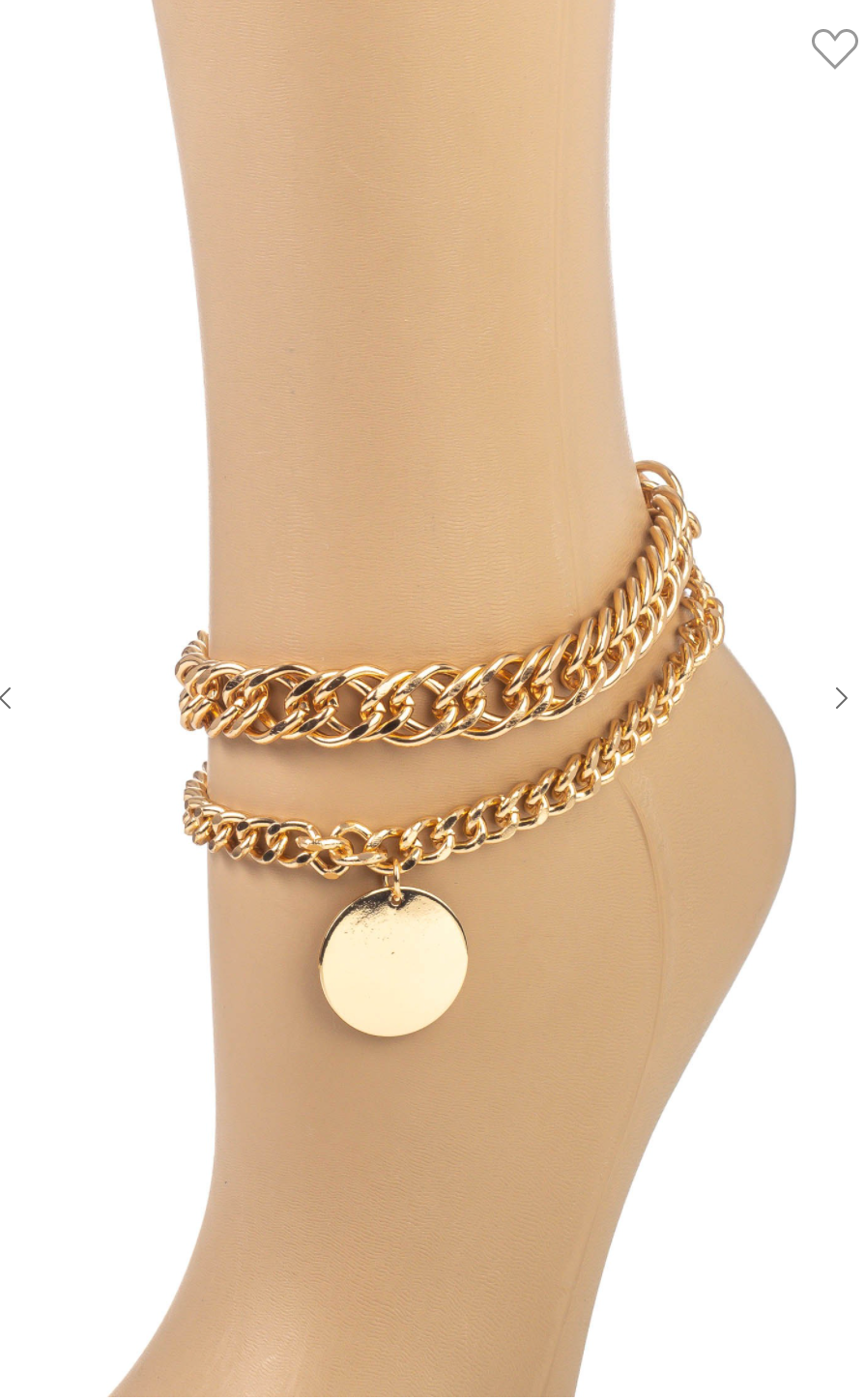 Coin Charm Layered Chain Anklet