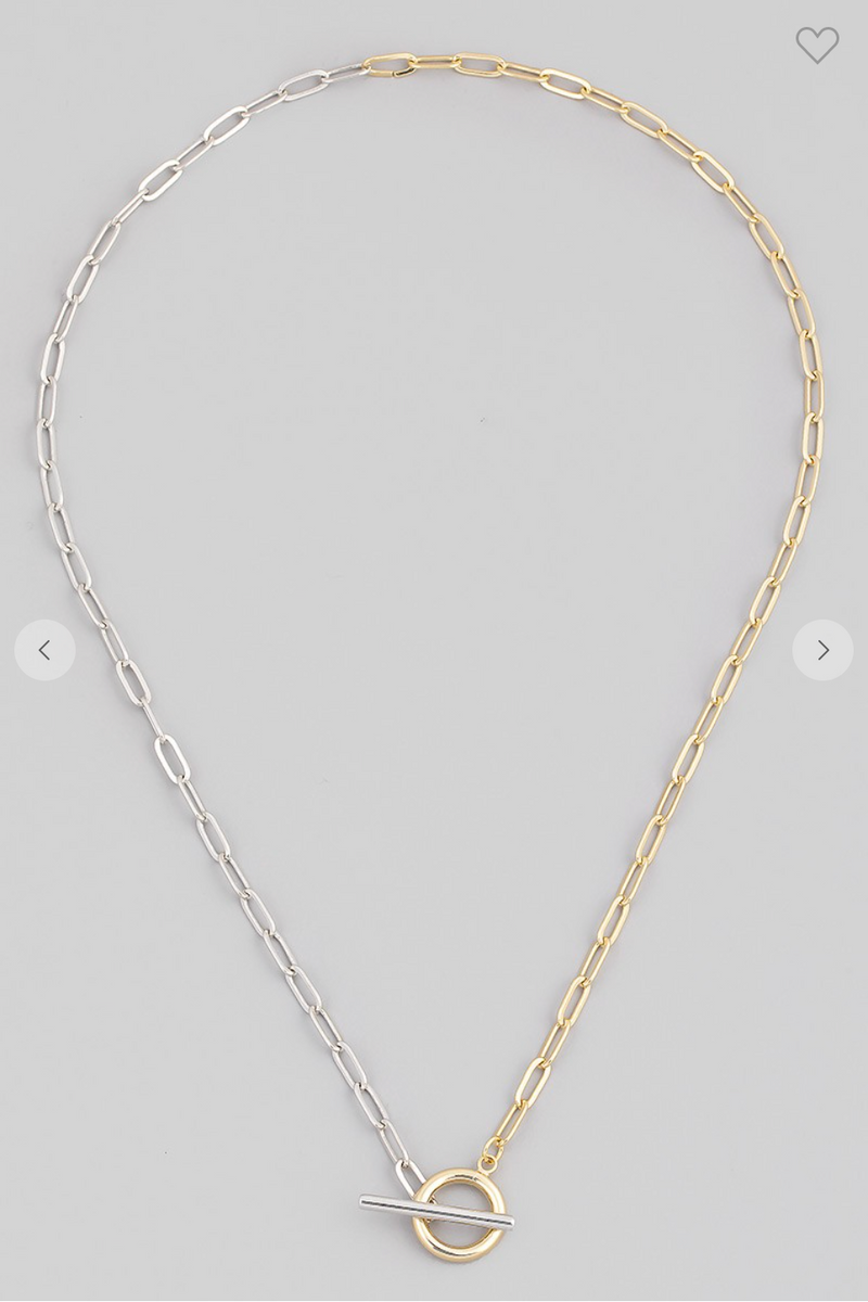 Two Tone Toggle Lock Chain Necklace