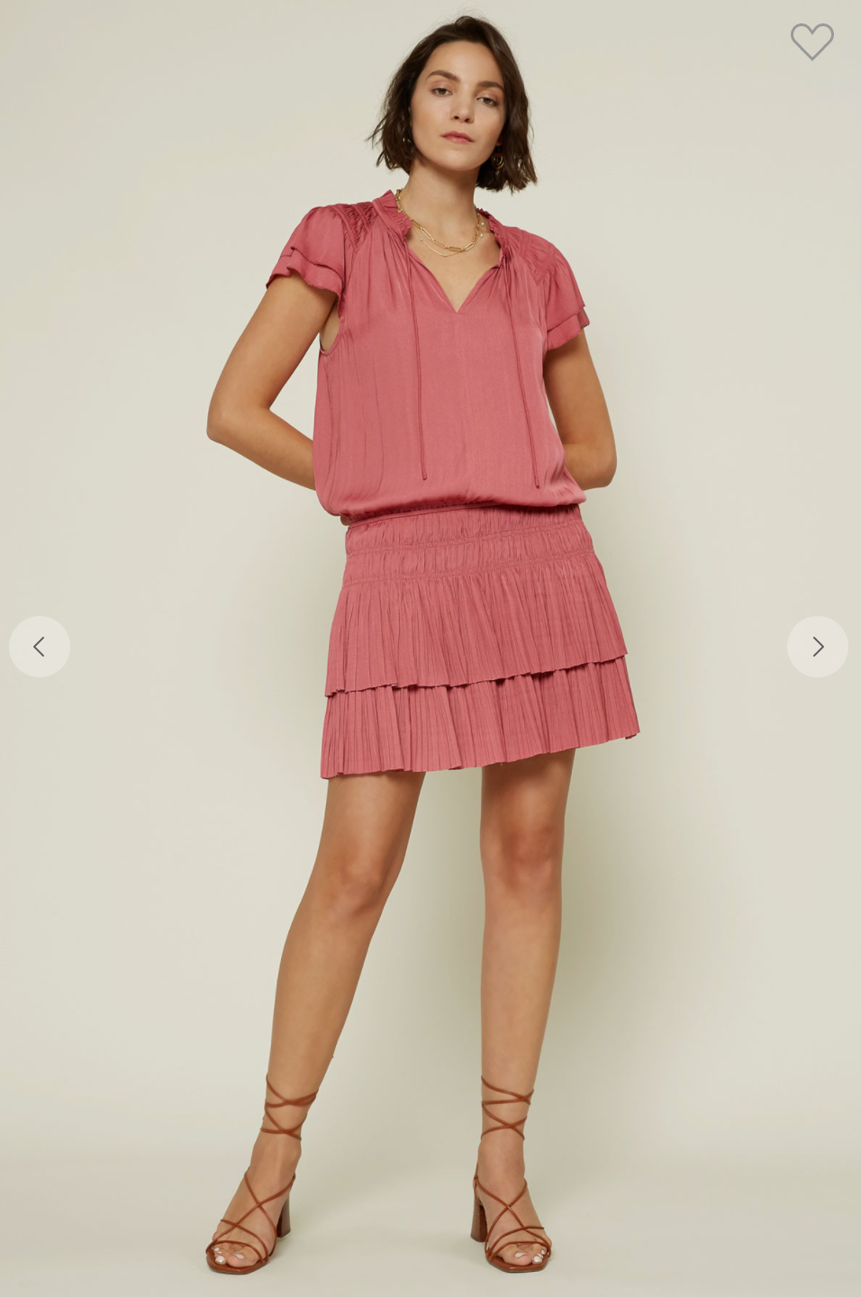 PLEATED MINI DRESS WITH FLUTTER SLEEVES