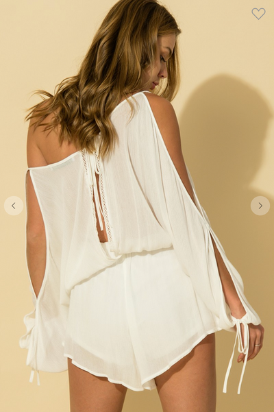 COLD SHOULDER SURPLICE NECK LONG SLEEVE ROMPER