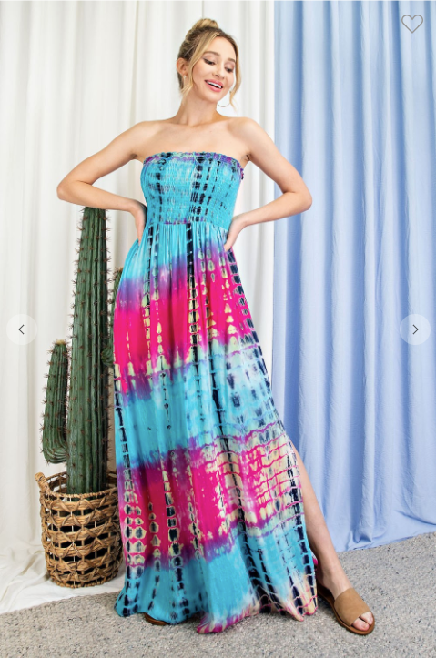 TIE DYE STRAPLESS SMOCKED MAXI DRESS